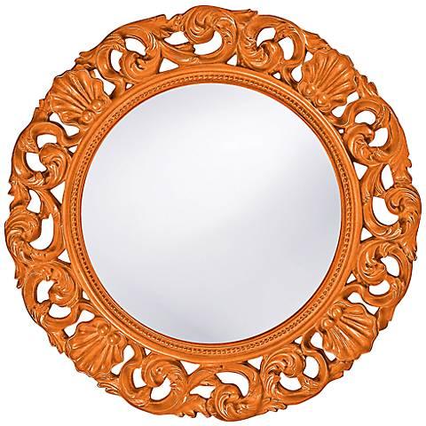 "Howard Elliott Glendale 26"" Round Orange Wall Mirror"