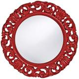"Howard Elliott Glendale 26"" Round Red Wall Mirror"