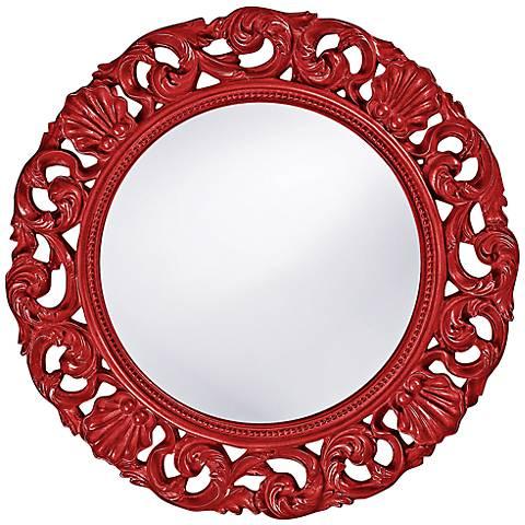 "Howard Elliott Glendale 26"" Round Red Wall Mirror"