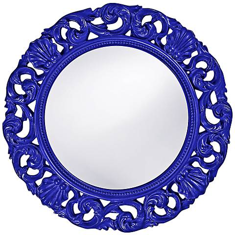 "Howard Elliott Glendale 26"" Round Royal Blue Wall Mirror"