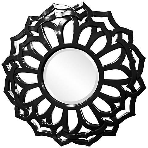 """Howard Elliott Casey 32"""" Round Black Flower Mirror"""