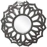 "Howard Elliott Casey 32"" Round Charcoal Gray Flower Mirror"