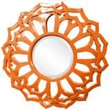 """Howard Elliott Casey 32"""" Round Orange Flower Mirror"""