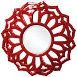 """Howard Elliott Casey 32"""" Round Red Flower Mirror"""