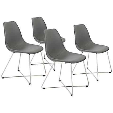 Anahita Gray Leatherette Armless Side Chair Set of 4