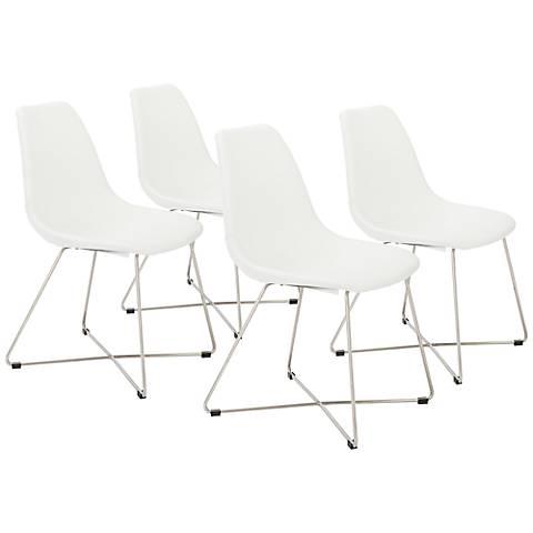 Anahita White Leatherette Armless Side Chair Set of 4