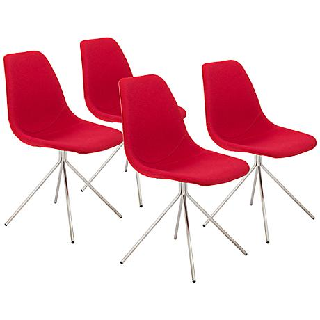 Dax Red Fabric Modern Side Chair Set of 4