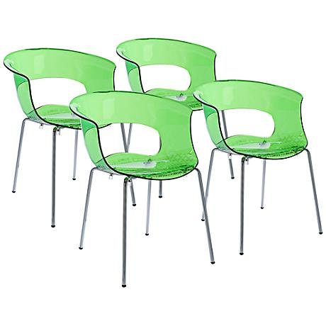 Miss B Antishock Lime Green Side Chair Set of 4