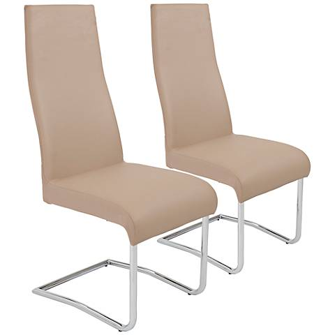 Rooney Latte Leatherette High Back Dining Chair Set of 2
