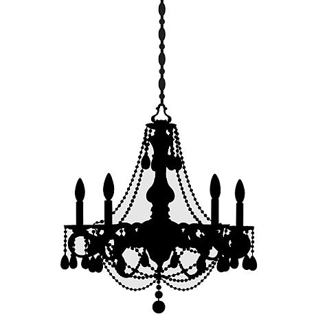 Beaded Chandelier Black and Gray Large Wall Decal