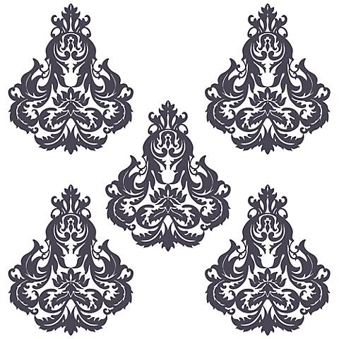 Brocade Deep Plum and White Wall Decal