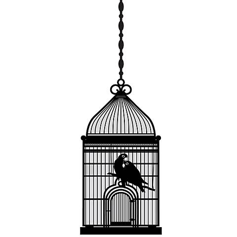 Square Bird Cage Black Wall Decal