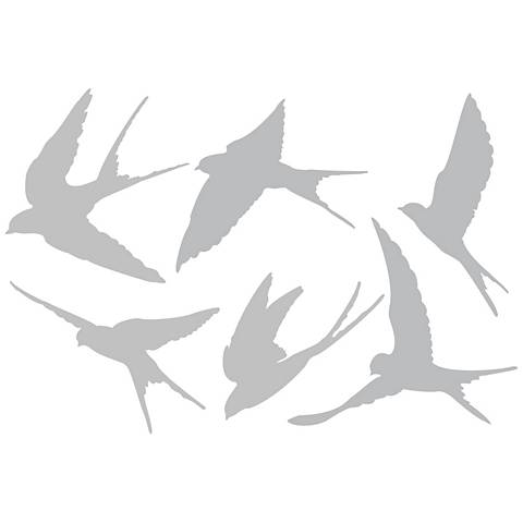 Set of 6 Flying Swallows Gray Wall Decals