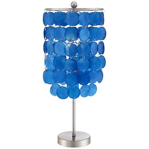 """Margaux Blue Shell Shade 21"""" High Accent Lamp"""