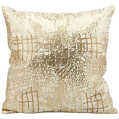 """Kathy Ireland Hers 18"""" Square Decorative Gold Pillow"""