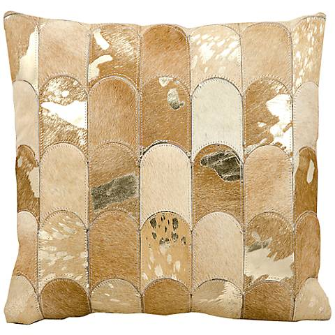 "Kathy Ireland Legacy 20"" Square Beige Gold Pillow"