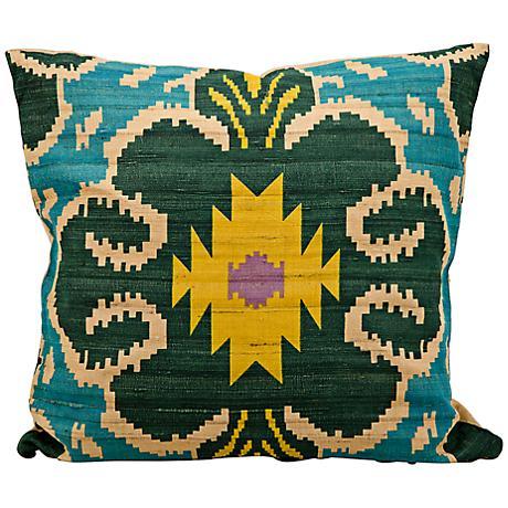 "Kathy Ireland Inspire 18"" Square Turquoise Blue Pillow"