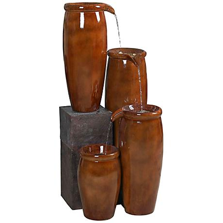 """Kenroy Home Agua Cascading Jugs Indoor-Outdoor 36""""H Fountain"""