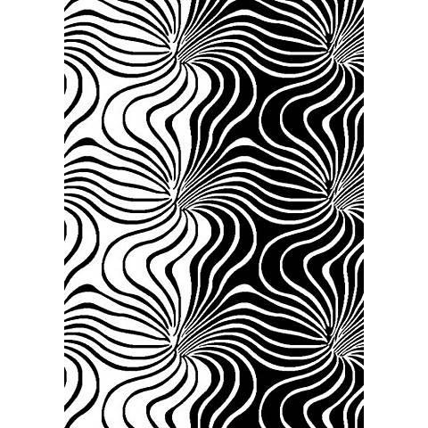 Cristall Kamakazie 10870 Black and White Area Rug