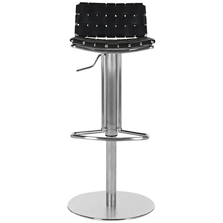 Partos Gas Lift Black Bonded Leather Bar Stool
