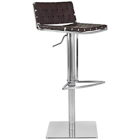 Thornley Brown Bonded Leather Gas Lift-Adjustable Barstool