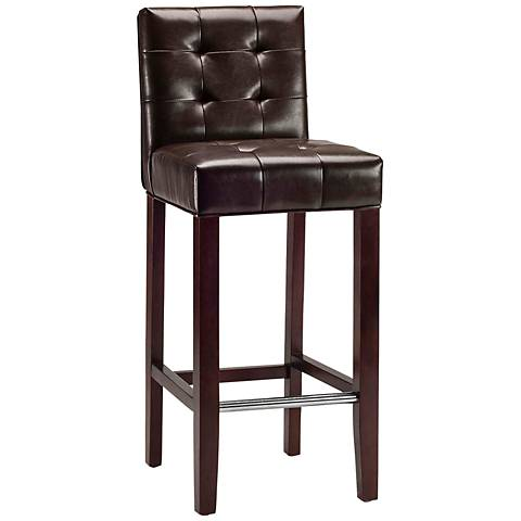 """Grainton 29"""" Brown Bycast Leather Bar Stool"""