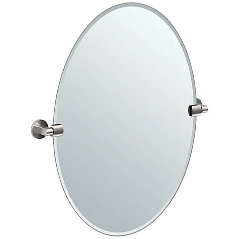 "Gatco Satin Nickel Tilt 24"" x 26 1/2"" Oval Wall Mirror"