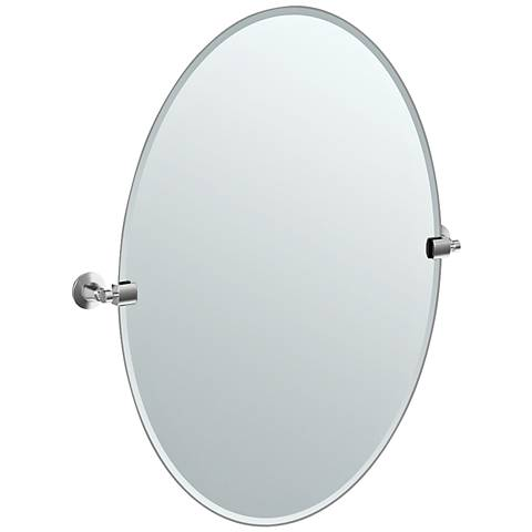 "Gatco Satin Nickel Max 28 1/2"" x 32"" Large Wall Mirror"