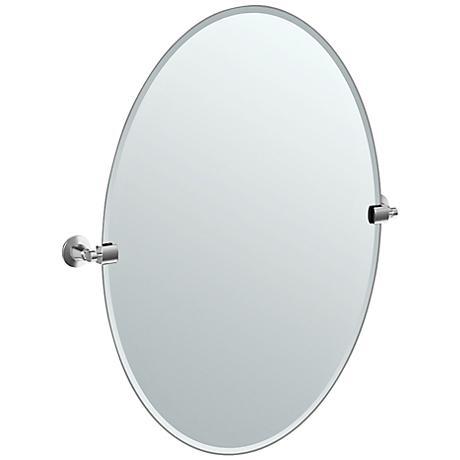"Gatco Satin Nickel Max 28 1/2"" x 32"" Large Wall Mirror"