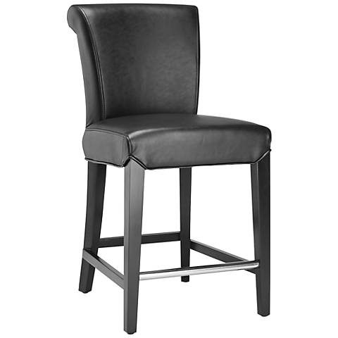 "Brisbin 24"" Black Bycast Leather Counter Stool"