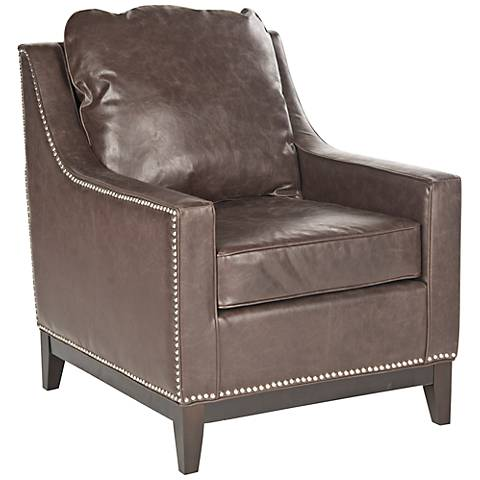 Clayburn Antique Brown Faux Leather Club Chair