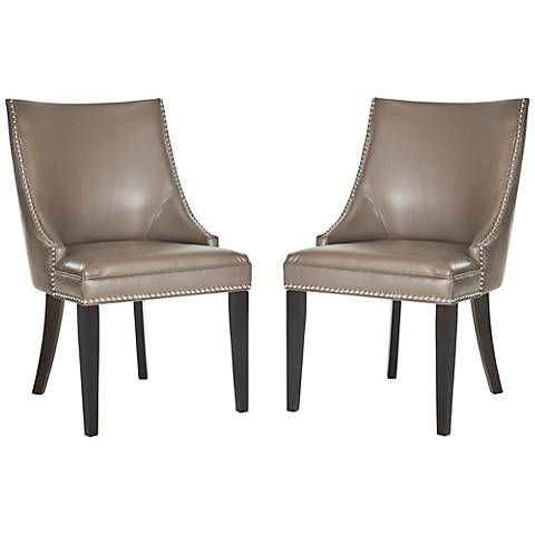 Set of 2 Barth Clay Bycast Leather Side Chair