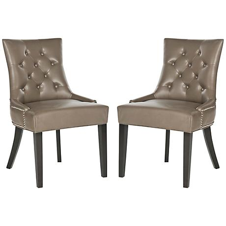 Set of 2 Wilmont Clay Bycast Leather Ring Chair