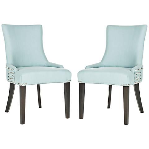 Set of 2 Villota Nailheads Light Blue Side Chair