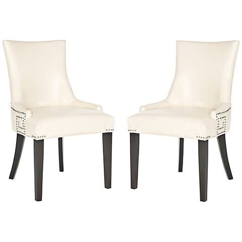 Set of 2 Villota Cream Bycast Leather Side Chair