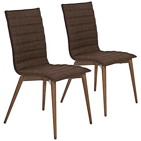 Yoland Brown Fabric Modern Side Chair Set of 2