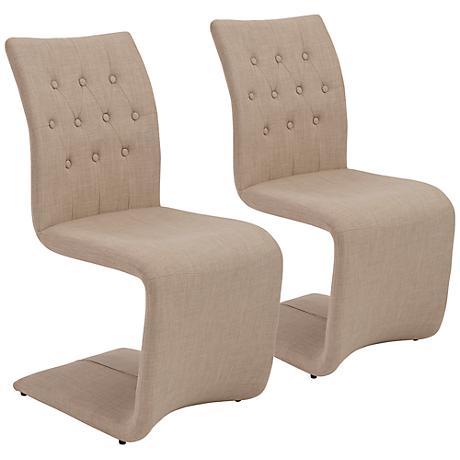 Zad Tan Fabric Modern Side Chair Set of 2