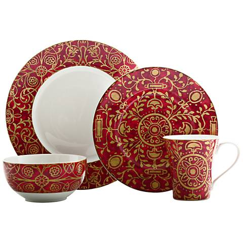 222 Fifth Pilar Red 16-Piece Dinnerware Set