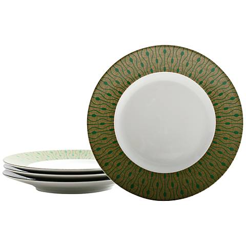 222 Fifth Theorie Green 4-Piece Salad Plate Set