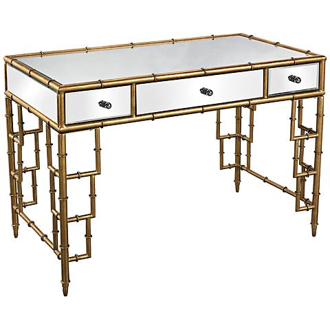 Bamboo Collection Gold Leaf Mirrored Desk