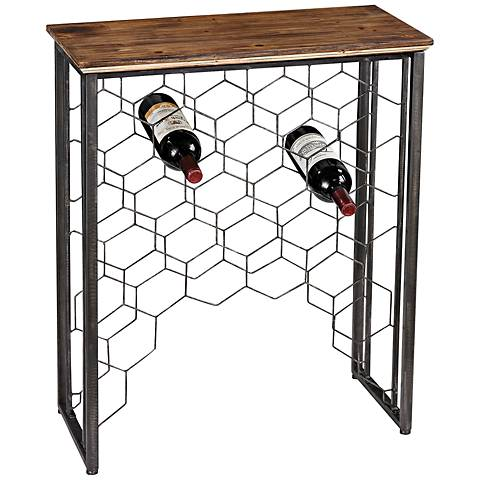 Wood and Metal Collection Wine Rack Console Table