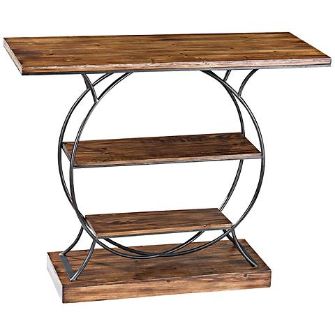 Wood and Metal Collection 2-Shelf Console Table