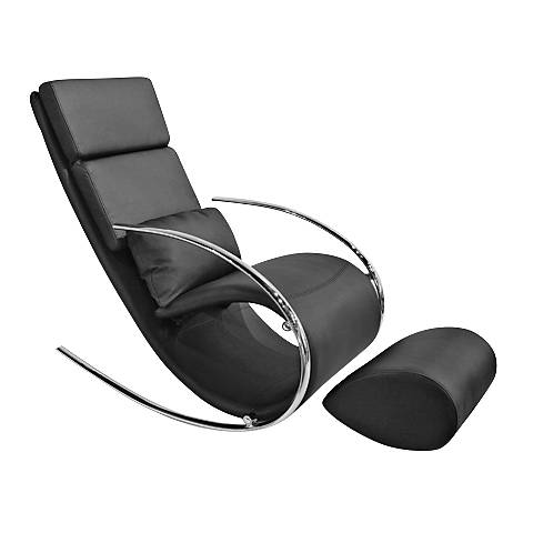 Chloe Black Leatherette Rocker Chair and Ottoman