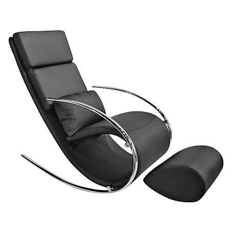 Chloe Black Leatherette Rocker Chair and Ottoman