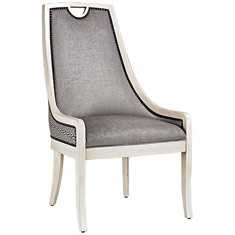 Stage Collection Gray Chevron Armless Dining Chair