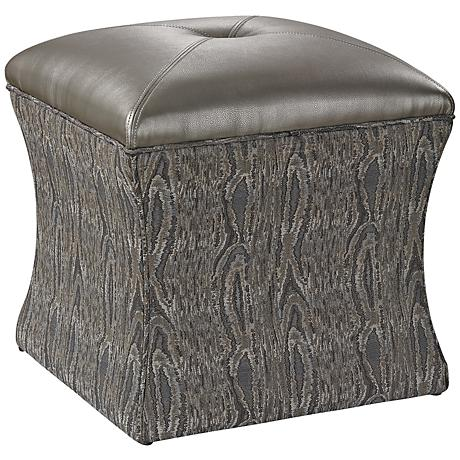 Luxe Collection French Gray Upholstered Ottoman