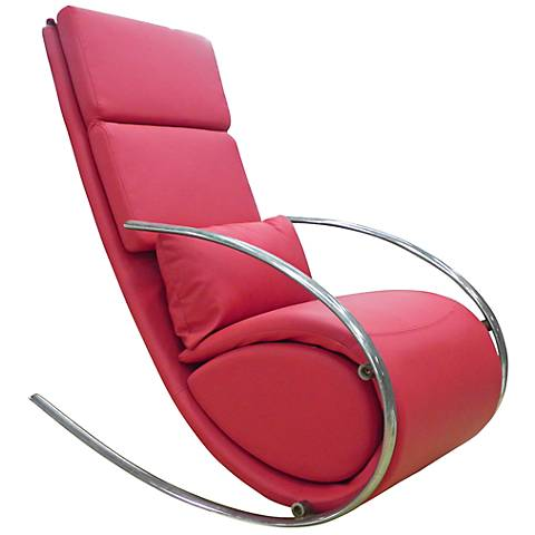 Chloe Red Leatherette Rocker Chair and Ottoman
