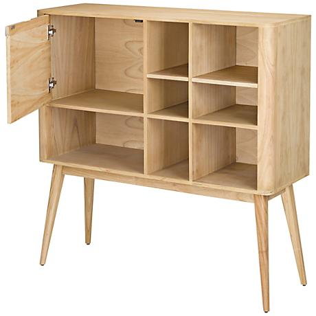 Retro Collection Light Natural Wood Shelves with Cabinet
