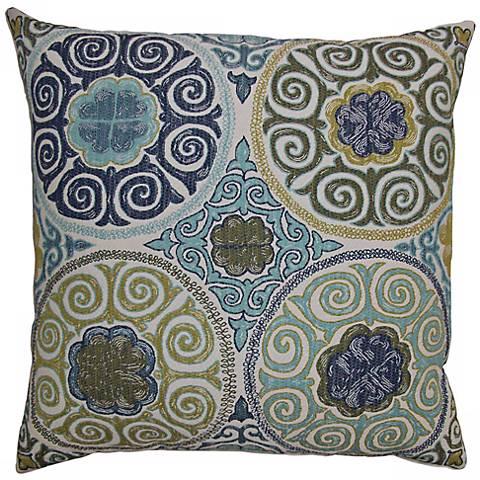 "Ishtihon Aqua 24"" Square Decorative Pillow"