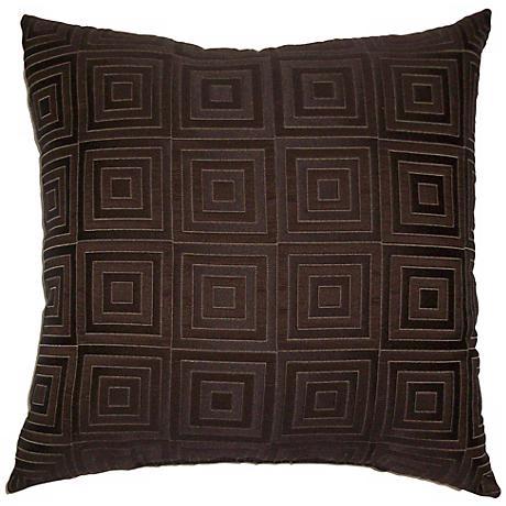 "Chocolate Brown Squared 20"" Square Decorative Pillow"